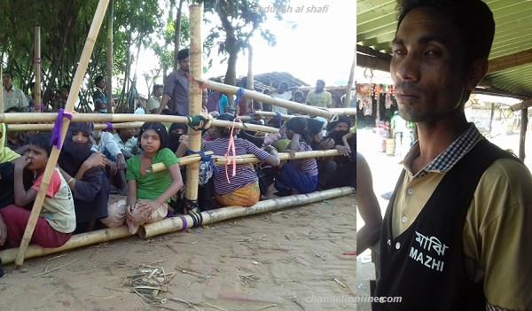 কুতুপালং ক্যাম্পে কাজ করা আব্দুর রহিম নামের একজন মাঝি। পাশে ত্রাণের অপেক্ষায় রোহিঙ্গা নারী-শিশু। ছবি- আব্দুল্লাহ আল সাফি